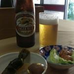 七面鳥 - 瓶ビール550円と素敵な仲間たち(これ、お通しなんです)
