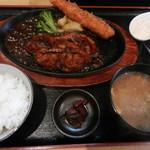 三河とんてき JIRO - 料理写真:10食限定の特JIRO定食(とんてき200グラム+大えびフライ)1000円