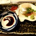 SUSHI BAR THE ƎND -縁戸- - 秋バルの1品はホタテ・アジ?のお刺身&イクラ