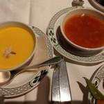 77058123 - スープはカボチャの冷製ポタージュスープとミネストローネを取りました。ポタージュスープがスイーツみたいに甘くて美味しかった。