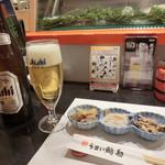 うまい鮨勘 - 「スーパードライ」中瓶700円&「お通し」