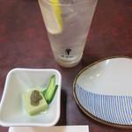 吉四六 - 酎ハイ(レモン) 430円と、つきだし