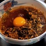 そば処港屋 - 生卵、食べ放題汁