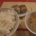 敦煌 - ランチセットのご飯・スープ・点心