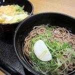 麺家兵庫 - 朝丼セット350円(ミニ親子丼+かけうどんorそば)
