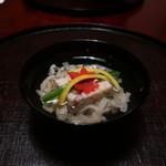 日本料理 子孫 - 海老、帆立、きくらげの真薯と湯葉のお椀