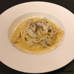 リストランテ ブォーノ - グアンチャーレとマッシュルームのキタッラ カルボナーラ仕立