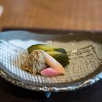 徳山鮓 - 2017.11 香の物(ゴリの稚魚、キュウリと赤カブの糠漬け)