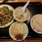 飲茶 居酒屋 香港亭 - 日替わりランチA(豚肉とニンニク芽炒めセット)