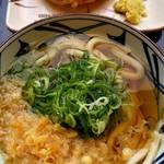 丸亀製麺 - かけうどん   +  かしわ天