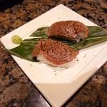 焼にく 和牛食堂 - 炙り牛寿司(正式名称失念)