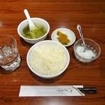 77186343 - ランチ:定食(ライス・スープ、漬物、杏仁豆腐)