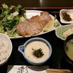 旬彩料理 てん - 麦とろごはんと豚ロースの塩焼き御膳1,000円