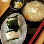 おふくろの味 3・5食堂 - おにぎりセット 380円(豚汁変更 +150円)