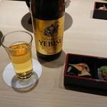すし屋銀蔵 - 前菜3点盛りと瓶ビール