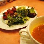 ロマラン - 料理写真:熱々パスタコース サラダとミネストローネ