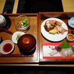 77212334 - ◆彩ご膳(1600円)・・お刺身3種・八寸盛り・茶碗蒸し・サラダ・ご飯・汁物・香の物・デザートなど。