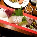 博多の砦 会席・日本料理 和食華彩都 - ◆共通:お刺身3種・・烏賊・カンパチ・マグロ。