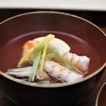 木山 - 料理写真:車海老 玉子豆腐 舞茸 結び三つ葉