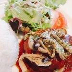 カボット カフェ - 和牛入りハンバーグ キノコデミトマソース