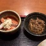 めしの助 - サーモンのおろしマヨネーズ添えと、鯖のうま煮