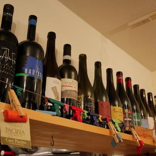 常時20種類以上!ソムリエ厳選のイタリア産メインの珠玉ワイン