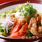 アジアンダイニング 金魚蘭 - 蒸し鶏と半熟玉子の金胡麻バンバンジーサラダ