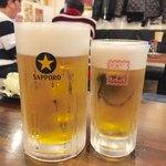 きんちゃん家 - メガジョッキ 1,000円、生ビール 500円