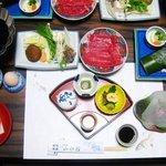 ホテル山水館 - 料理写真:最初に並んだ料理。竹の上は、城下カレイかな。