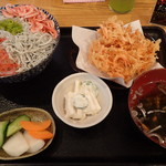 77324405 - 二色丼+かき揚げ単品