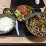 さぬき庵 - 生姜焼きとかけ蕎麦のセット