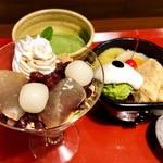 太郎茶屋鎌倉 - 料理写真:わらび餅サンデー、抹茶クリームあんみつ、抹茶