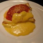 7735609 - リコッタチーズと生ハムのクレスペッレ オーブン焼き 南瓜のクリームソース