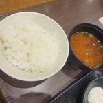 新宿さぼてん - カキフライと三元麦豚ロースかつ定食(ライスと味噌汁)
