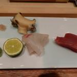すし瀬名波 - 蒸しあわび,真鯛,ホンマグロ
