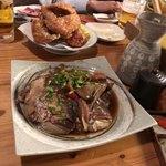 やますい - 鳥の唐揚げと鯛の兜煮