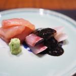 傳 - 金目鯛とモクアジの刺身 海苔餡