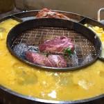 立喰☆焼肉 - 御付き出し ケランチム&チーズコーン&キムチ焼き