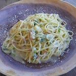 77365193 - パンチェッタと根セロリ、長葱のパスタ 柚子風味。