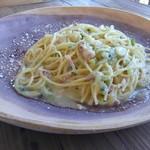 77365194 - パンチェッタと根セロリ、長葱のパスタ 柚子風味。
