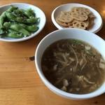 77365678 - ランチセットの前菜とスープ   スープは酸味が効いてます