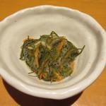 旬菜‐小豆 - お通しは松前漬け