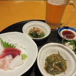 旬菜‐小豆 - ビールセット1,080円とお通し300円