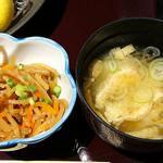 串亭 - 串亭 二子玉川柳小路店 ランチ 広島県産牡蠣フライ御膳に付く揚げの味噌汁と甘目の金平牛蒡