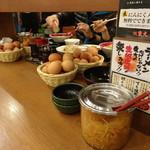 東大 - 食べほーの生卵と辛モヤシ