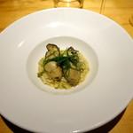 77401844 - 三陸産真牡蠣網焼きとアオサ・コンソメで炊いたご飯
