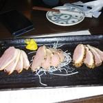 77404750 - さかえ庵_鴨と地鶏の鍋コース(鴨の燻製三種盛り)