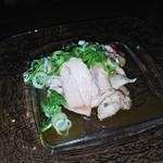 77404790 - さかえ庵_鴨と地鶏の鍋コース(鴨わさ(ササミ))