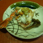 Chimatsushima - 先付(剥かれた渡り蟹とハゼの佃煮)