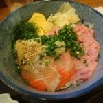 77407429 - 穴子、ネギトロ、サーモン丼